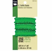 Ruffle Elastic Green 5/8in x 1yd