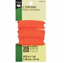 Ruffle Elastic Orange 5/8in x 1yd