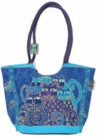 Scoop Tote 17inX7inX11in Zipper Top Indigo Cats