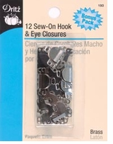 Sew On Hook & Eyes 1/2in 12/Pkg Nickel & Black