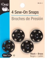 Sew On Snaps Size 10 Black