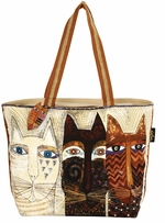Shoulder Tote Zipper Top Ancestral Cats