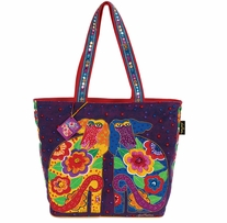 Shoulder Tote Zipper Top Flowering Canines
