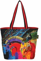 Shoulder Tote Zipper Top Wild Horses Of Fire