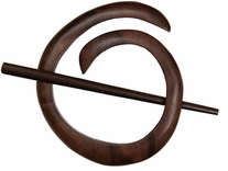 Spiral Shawl Pin Tiger Ebony
