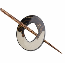 Stone And Wood Shawl Pin Ecru