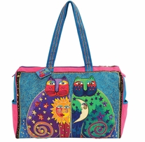 Travel Bag Zipper Top Celestial Felines