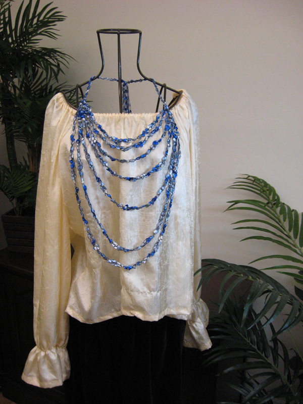 Trellis Yarn Necklace - Crochet Bib Necklace