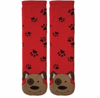 Tubular Novelty Socks Dog Red with Paw Prints