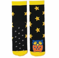 Tubular Novelty Socks Owl Black with Yellow Stars