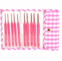 Tulip Pink Etimo Candy Crochet Hook Set Gingham Pink