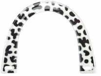 U Shaped Purse Handle Novelty Plastic White with Black Spots