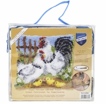 Vervaco Cushion Latch Hook Kit 16inX16in Chicken Family On A Farm