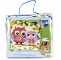 Vervaco Cushion Latch Hook Kit 16inX16in Owls On A Branch