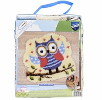 Vervaco Shaped Rug Latch Hook Kit 20inX22in Funny Owlet On A Branch