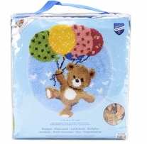 Vervaco Shaped Rug Latch Hook Kit 22inx24.75in Bear With Balloons