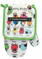 Wacky Woollies Oven Glove & Pot Holder Set