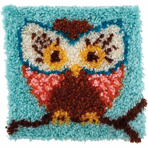 Wonderart Latch Hook Kit Hoot Hoot 12inx12in
