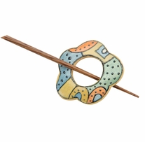 Wood Shawl Pin Painted SP42005