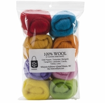 100% Wool Roving 12in Confetti