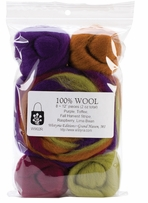 Wool Roving 12 .25oz Fall Harvest Stripe