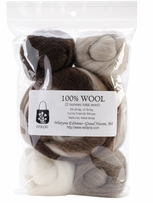 Wool Roving 12 .25oz Furry Friends Two