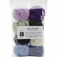 Wool Roving 12in .25oz Hydrangeas 8/Pkg