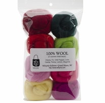 Wool Roving 12in .25oz Zinnias 8/Pkg
