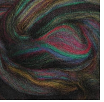 Wool Roving .25oz Dark Green Variegated