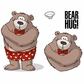 "Art Impressions Valentine's Cling Rubber Stamp Set 7""x4"" - Bear Hug"