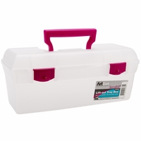 ArtBin Essentials Lift Out Box w/Handle - Clear/Raspberry Handle