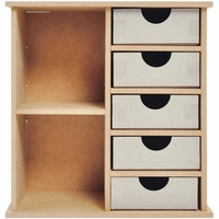 Beyond The Page MDF - 5-Drawer Shelf Unit