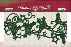 Christmas Cheer Die-Cut Felt Ribbon - Green - Click to enlarge