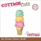 "CottageCutz Die 4""x4"" - Ice Cream Cone Made Easy"