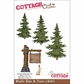 "CottageCutz Die 4""x6"" - Rustic Sign & Trees"
