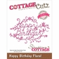 CottageCutz Elites Die - Happy Birthday Floral