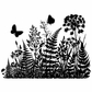 Crafty Individuals Unmounted Rubber Stamp - Ferns And Butterflies Silhouette