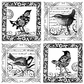 Crafty Individuals Unmounted Rubber Stamp - Four Little Songbirds
