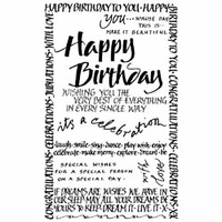 Crafty Individuals Unmounted Rubber Stamp - Happy Birthday Calligraphy