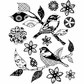 Crafty Individuals Unmounted Rubber Stamp - Patchwork Birds & Flowers