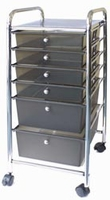 Cropper Hopper Home Storage Rolling Organizer - 6 Drawer Smoke