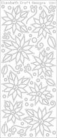 Daisies/Poinsettia w/Doodles Peel Off Stickers - Black
