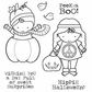Darcie's Cling Mounted Rubber Stamp Set - Hippie Halloween
