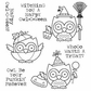 Darcie's Cling Mounted Rubber Stamp Set - Owl - O - Ween