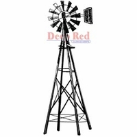"Deep Red Stamp 1.25""x3"" - Farmers Windmill"