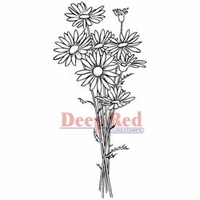 "Deep Red Stamp 1.5""x3"" - Daisy Bouquet"