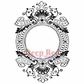 "Deep Red Stamp 2.5""x4"" - Baroque Frame"