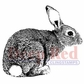 Deep Red Cling Stamp 2x2 - Bunny Rabbit