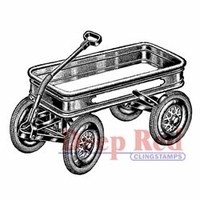 "Deep Red Stamp 2""x2"" - Little Red Wagon"