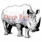 "Deep Red Stamp 2""x2"" - Rhinoceros"